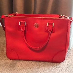 Tory Burch Double-Zip Tote, Poppy Red